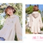 Pre-Order เสื้อคลุมฮู้ดชายระบายไล่ระดับ ปักลายดอกไม้ สีเอิร์ทโทน thumbnail 9