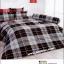 ชุดเครื่องนอน ผ้าปูที่นอนtoto ลายสก๊อต สีเทาดำ TT502