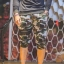 กางเกง Jogger ขาจั๊มสามส่วน พรีเมี่ยม ผ้า วอร์ม รหัส WT 379 BB สีทหาร แถบ ดำ thumbnail 4