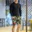 กางเกงขาสั้น พรีเมี่ยม ผ้า วอร์ม รหัส WT 279 BR สีทหาร แถบ ดำ แดง thumbnail 1