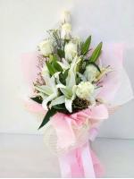 ช่อดอกไม้ ลิลลี่-กุหลาบขาวกลาง