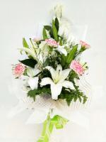 ช่อดอกไม้ ลิลลี่-กุหลาบขาวใหญ่