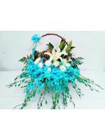 กระเช้าดอกไม้สีฟ้า รหัส 2052