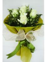ช่อดอกไม้ กุหลาบขาว 5 ดอก รหัส 1056
