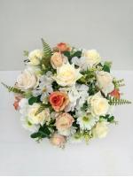 แจกันดอกไม้ประดิษฐ์ทรงกลมโทนครีม-ส้ม