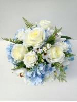 แจกันดอกไม้ประดิษฐ์ทรงกลมโทนฟ้า-ขาว