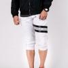 กางเกงสามส่วน พรีเมี่ยม ผ้า COTTON รหัส SST 322 JAP BW สีขาว แถบดำ