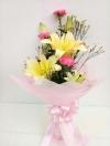 ช่อดอกไม้ ลิลลี่เหลือง-คาร์เนชั่น