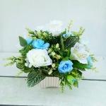 แจกันดอกไม้ประดิษฐ์โทนฟ้าขาว รหัส 3091