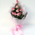 ช่อดอกไม้กุหลาบชมพู 9 ดอก รหัส 1062