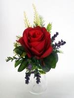 แจกันดอกไม้ประดิษฐ์เล็กกุหลาบแดง รหัส 3098