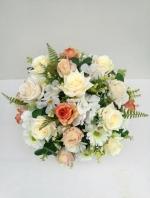 แจกันดอกไม้ประดิษฐ์ทรงกลมโทนครีม-ส้ม รหัส 3094