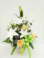 แจกันดอกไม้ประดิษฐ์กลางขาว รหัส 3075