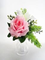 แจกันดอกไม้ประดิษฐ์เล็กกุหลาบชมพู รหัส 3099