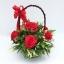 กระเช้าดอกไม้ประดิษฐ์กุหลาบแดงวาเลนไทน์ รหัส 2076