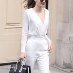 แฟชั่นกางเกงเอวสูงสีขาว