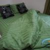 ผ้าปูที่นอนรัดมุม ลายริ้ว 6 ฟุต สีเขียว