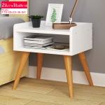 CASSA โต๊ะข้างเตียง ตู้ข้างเตียง ชั้นวางข้างเตียงสไตล์สแกนดิเนเวียน แบบ 2 ชั้น (สีขาว) ขนาด 40x30x46 cm. รุ่น F79-40x30x46-WY
