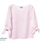 เสื้อแฟชั่นผ้าฮานาโกะแขนยาวแต่งโบว์-สีชมพู