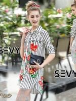 Mini dress shirt เสื้อเซ๊ตทรงมินิเดรสลายริ้ว คอปก กระดุมผ่าหน้า เนื้อผ้าโพลีเอสเตอร์พิมพ์ลายดอกไม้ และตัวอักษรภาษาอังกฤษ