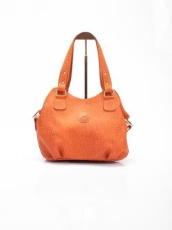 LDB3041 กระเป๋าสะพาย หนังแท้ พิมพ์ลายช้าง ทรงถุงเงิน สีแทนอมส้ม