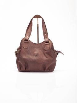 LDB3041 กระเป๋าสะพาย หนังแท้ พิมพ์ลายช้าง ทรงถุงเงิน สีน้ำตาล