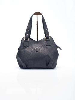 LDB3041 กระเป๋าสะพาย หนังแท้ พิมพ์ลายช้าง ทรงถุงเงิน สีดำ