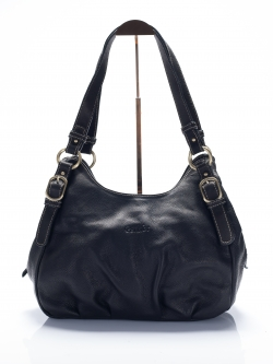 LDB3038 Edie กระเป๋าสะพายหนังแท้ ชามัว ทรงถุงเงิน ช่องเก็บของ3ช่อง สีดำ