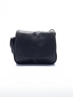 LDB3030 กระเป๋าสะพายหนังแท้ ทรงฝาปิดเต็มช่องใส่ของ3ลอน ใบเล็ก สะพายเฉียงคร่อมลำตัว สีดำ