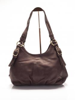 LDB3038 Edie กระเป๋าสะพายหนังแท้ ชามัว ทรงถุงเงิน ช่องเก็บของ3ช่อง สีน้ำตาล