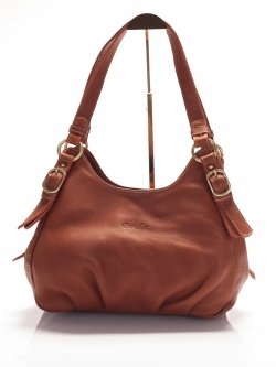 LDB3038 Edie กระเป๋าสะพายหนังแท้ ชามัว ทรงถุงเงิน ช่องเก็บของ3ช่อง สีคาราเมล