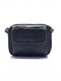 LDB3042 Myla กระเป๋าสะพาย หนังแท้ สองซิป ทรงกะทัดรัด ช่องเก็บของเยอะ สีดำ