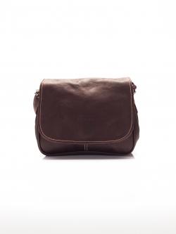 LDB3030 กระเป๋าสะพายหนังแท้ ทรงฝาปิดเต็มช่องใส่ของ3ลอน ใบเล็ก สะพายเฉียงคร่อมลำตัว สีน้ำตาล