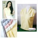 เสื้อแฟชั่นผ้าฮานาโกะ แขนกุด คอวี (สีเหลือง) จับจีบไหล่ ทรงสวยเรียบหรู สินค้าคุณภาพดี ใส่ได้ทุกโอกาส