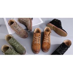 รองเท้าหุ้มข้อพิเศษ หนังกลับเย็บกลาง แต่งข้อเข็มขัดเบอร์ 35-40 สีเขียว เหลือง กากี