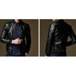 เล็กเข้ารูป+เสื้อแจ็คเก็ตหนังเบสบอล สลิมฟิต แฟชั่นซิบ BIW สี ดำ No.36 38 40 42 44