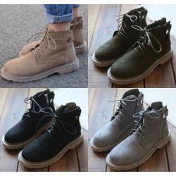 รองเท้าหนังกลับหุ้มข้อ ซิบ สีกากี เทา เขียว ดำ No.35-40