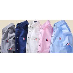 เสื้อเชิ้ตแขนสั้น แฟชั่น ขอบแขนกระเป๋าสีธงตัด ฟ้าอ่อน สีชมพู น้ำเงิน ขาว No.36 38 40 42 44