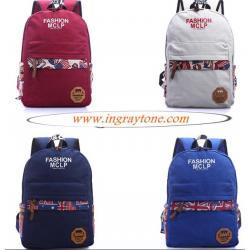 กระเป๋าเป้สะพายหลัง ผ้าใบกันน้ำ รูดซิบแต่งลายธง สุดคลาสสิค สไตล์อังกฤษ MC สีแดง ครีม ฟ้า น้ำเงิน