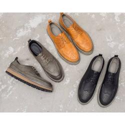 พรีออเดอร์ราคาพิเศษ!! รองเท้าหุ้มส้นพิเศษ หนัง ปรุหน้าออกฟอร์ด ทูโทน สีเทา ดำ แทนเหลือง เบอร์ 38-44