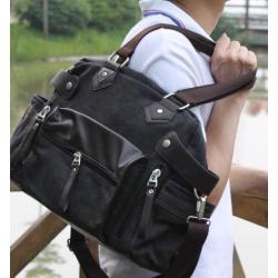 กระเป๋าเรโทร Hold all สุดคลาสสิค สไตล์อังกฤษ แต่งกระเป๋าหนัง ผ้าใบ สีดำ กากี