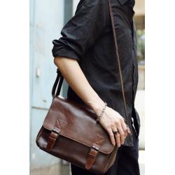 กระเป๋าสะพายข้าง เข็มขัดหนัง ขนาดกลาง สีน้ำตาล ดำ กากี