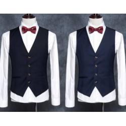 4สีเล็กพิเศษ เสื้อกั๊กสูท 4เม็ด คลิบขาว Size No.33 35 37 39 41 สีดำ น้ำเงิน เทา แดง