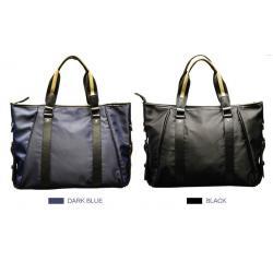 กระเป๋าสะพายข้าง กระเป๋าถือ โน้ตบุค แนวนอนสี่เหลี่ยม แต่งหนัง2เข็มขัด ผ้าไนล่อน สี น้ำเงิน ดำ