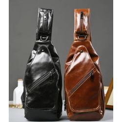 กระเป๋าหนังสะพายข้าง สะพายเฉียง ทรงเรียว PUด้าน 2ชั้น หนังเงาเรียบ สี น้ำตาล ดำ