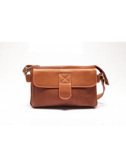 LDB3051 Sairiz กระเป๋าหนังแท้ 3ลอน ด้านหน้ามีช่องเก็บของฝาปิด สีแทน
