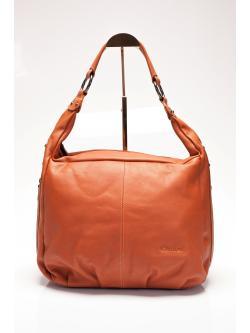 LDB7491 Hilda กระเป๋าสะพาย หนังแท้ สายสะพายเดี่ยวทรงย่าม ก้นสี่เหลี่ยม สีแทนอมส้ม