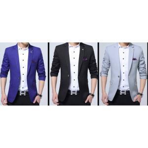 เสื้อสูทลำลองแฟชั่นผู้ชาย ปกเปิด HKChief size 35 37 39 41 43 เทา น้ำเงิน ดำ