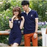 +พร้อมส่ง+ เสื้อคู่รักเกาหลี แฟชั่นคู่รัก ชายเสื้อคอปกแขนสั้น + หญิงเดรสคอปกแขนสั้น ลายสมอ สีน้ำเงิน