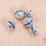 ตัวแต่งบอลเพชร ฝาครอบสีเงิน เพชรสีน้ำเงินอ่อน 8 มิล (5ชิ้น)
